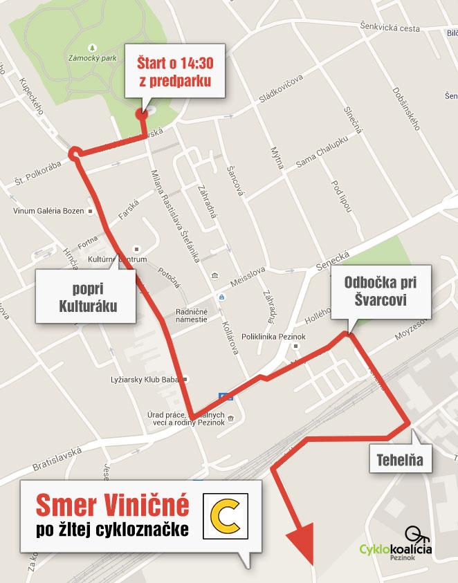 trasa cyklojazdy v Pezinku - mapa